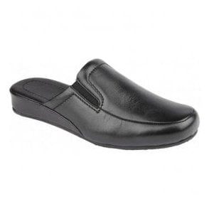 Mens Ian Black Leather Mule Slippers