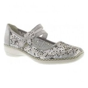 Womens Crash White/Silver Strap Over Mary Jane Shoes 41372-80