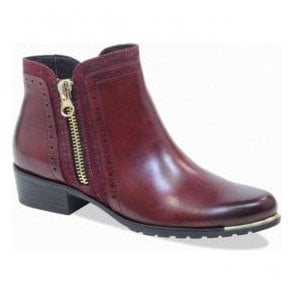 Womens Bordo Combi Leather Ankle Boots 9-25403-21 019