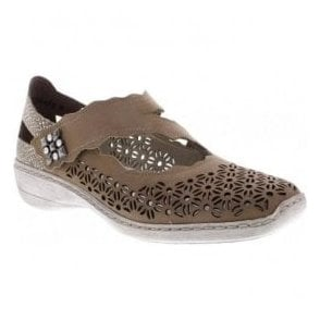 Womens Beige/Grey Combi Strap-Over Shoes 413G4-42