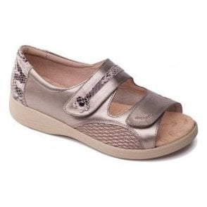 Womens Grace Metallic Combi Velcro Strap Over Sandals