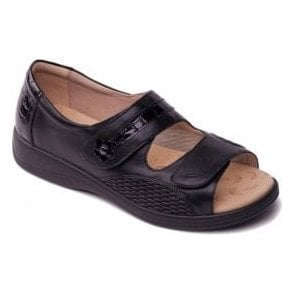 Womens Grace Black Velcro Strap Over Sandals