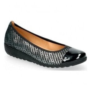 Womens Black Woven Combi Slip On Leather Wedge Shoes 9-22103-21 051