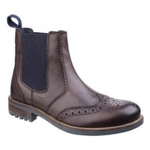 Mens Cirencester Brown Brogue Ankle Boots