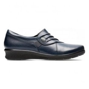 Womens Hope Roxanne Navy Leather Slip-On Shoes 26137203