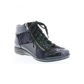 Womens Softlack Navy Patent Multi Ankle Boot L3633-14