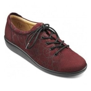 Womens Dew Extra Wide Maroon Print Nubuck Lace Up Shoes