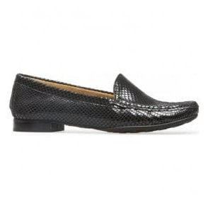 Womens Cherry Black Snake Print Slip On Loafer Shoes 2509120
