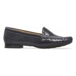 Womens Cherry Navy Snake Print Slip On Loafer Shoes 2509420