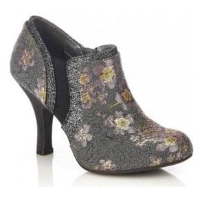 Womens Juno Grey Floral Zip-Up Stiletto Shoe-Boots 09211