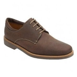 Mens Delta Mustang Tobacco Leather Derby Shoes