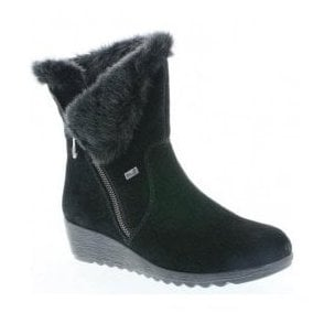 Womens Samti Black Zip-Up Waterproof Suede Ankle Boots X2470-00