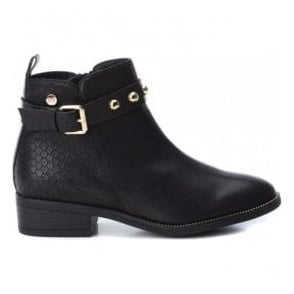 Womens 48432 Black Block Heeled Ankle Boots