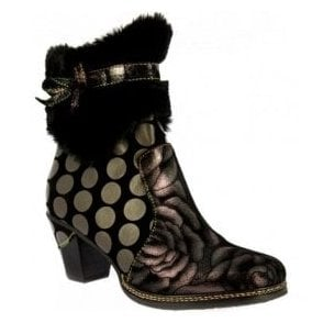 Womens Dream 038 Black Zip-Up Heeled Ankle Boots