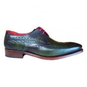Mens Hunger Firefly Green Shadow/Croc Leather Gibson Shoes