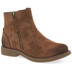 Womens Newa Brown Zip Ankle Boots 97890-24
