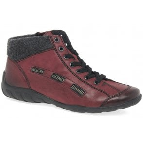 Womens Eagle Red Lace Up Ankle Boots L6543-35