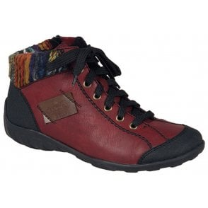 Womens Jura Black/Red Lace Up Ankle Boots L6540-00