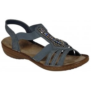 Womens Haifa Casual Grey (Blue) Slip On Sandals 608S1-42