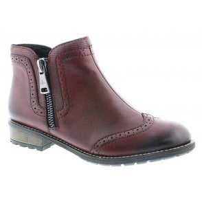Womens Cristallin Burgundy Zip Ankle Boots Y3361-35