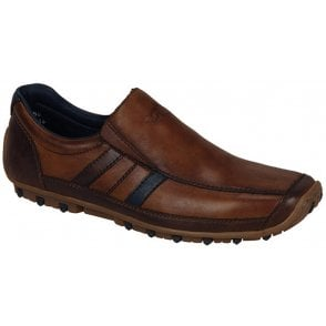 Mens Bologna Brown Combination Leather Slip On Shoes 08972-25
