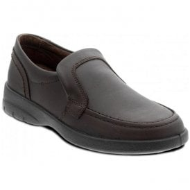 Mens Sky Brown Leather Slip On Shoes