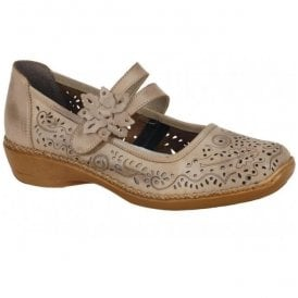 Ganges Taupe Leather Bar Shoes 41372-63