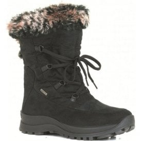 Womens Alaska 02 Black Waterproof Tie Boots