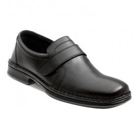 Mens Harry Black Leather Vecro Shoes