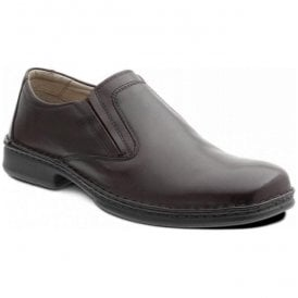 Mens Hadley Dark Brown Leather Slip On Shoes