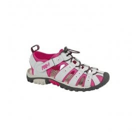 Womens Grey/Fuchsia Velcro Trail Sandals L377PK