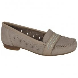 Womens Capra Beige Slip On Moccasin Shoes 40055-64