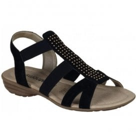 Womens Virage/Ela Black Elasticated Sandals R3665-01