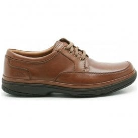 Mens Swift Mile Mahogany Leather Shoes Extra Wide
