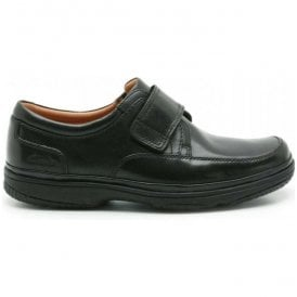 Mens Swift Turn Black Leather Shoes Extra Wide