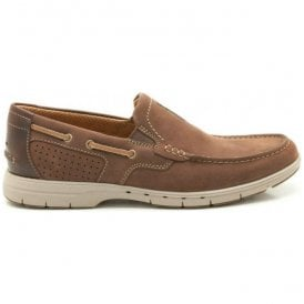 Mens Unnautical Bay Mahogany Leather Casual Shoes