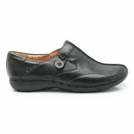 Womens Un Loop Black Leather Casual Shoes
