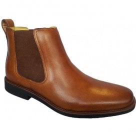 Mens Austin Cognac Leather Pull On Chelsea Boots