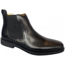 Mens Austin Black Leather Pull On Chelsea Boots