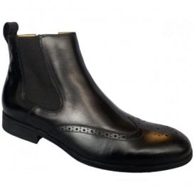 Mens Bassett Black Chelsea Boots With Brogue Detail
