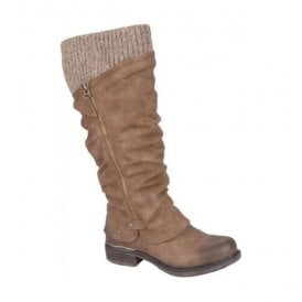 High Leg Knitted Boot With Side Zip In Nut 98956-25
