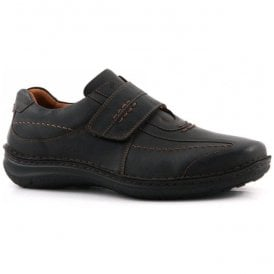 Mens Alec Black Wide Fit Velcro Shoes 43332 80600