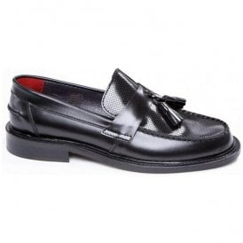 Mens Ace Punch Black Loafer With Punched Detail
