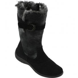 Womens Black Suede Leather Synthetic Lined Boots 2814 90