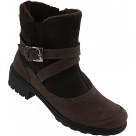 Womens Brown Waterproof Buckle Strap Ankle Boots 2960 71