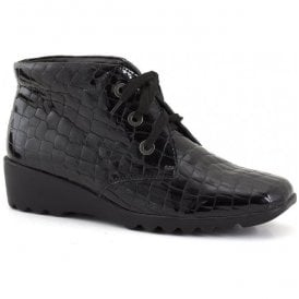 Womens Carree 05 Black Croc Lace Up Boots