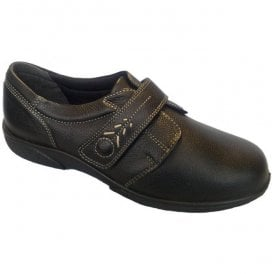 Womens Healey Black Single Touch Velcro Wide Fitting Shoes