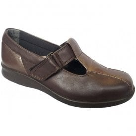 Womens Rowena Brown/Espresso Velcro Shoes 79022B 4E