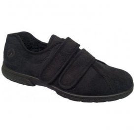 Mens Joseph Black Velcro House Shoes 81005A EE-4E (2V)