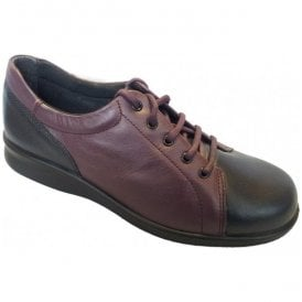 Womens Phoebe Navy/Plum Leather Lace Shoes 79007P 4E